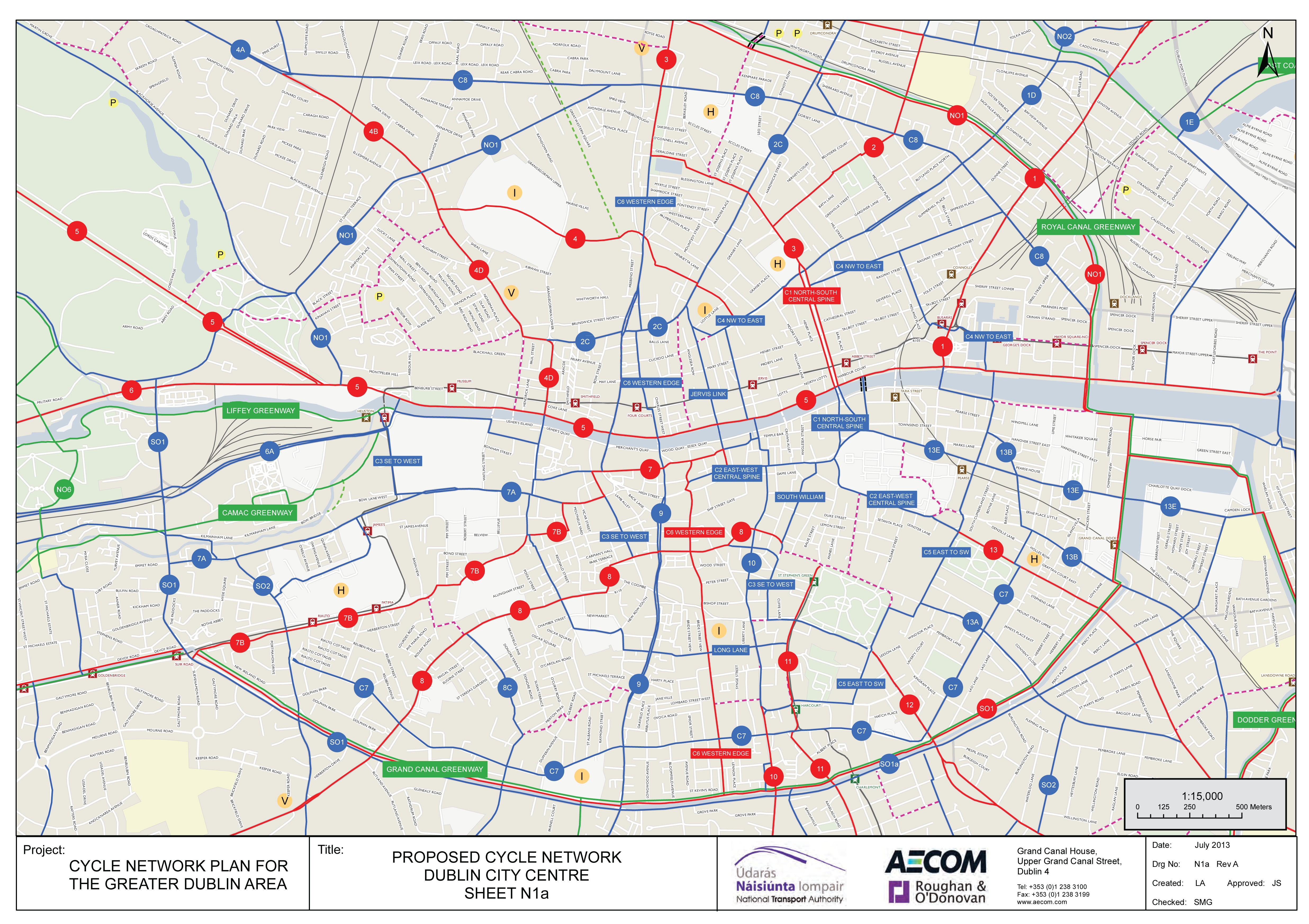Dublin City Centre draft cycle network map