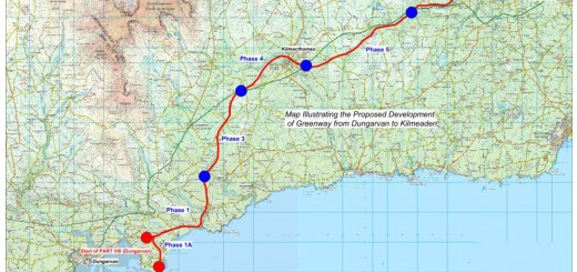 Dungarvan to Kilmeaden Greenway route map